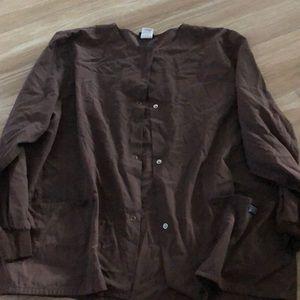 Large brown scrub jacket used